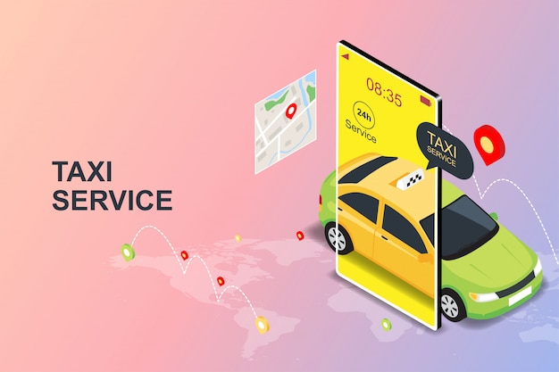 Online mobile taxi order service app concept