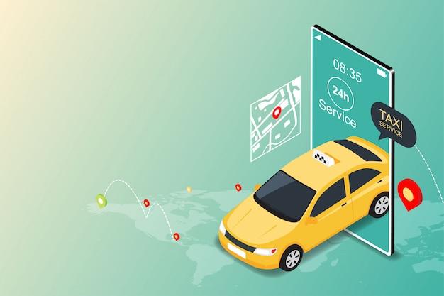 온라인 모바일 택시 서비스 앱. 모바일 및 탐색 또는 위치 도시지도의 택시