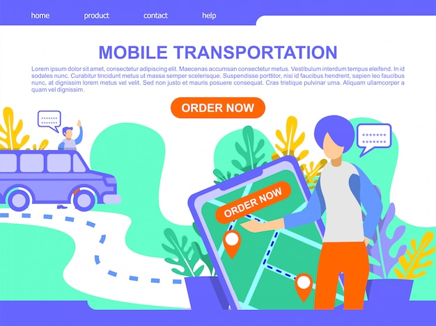 Online mobile transportation landing page illustration