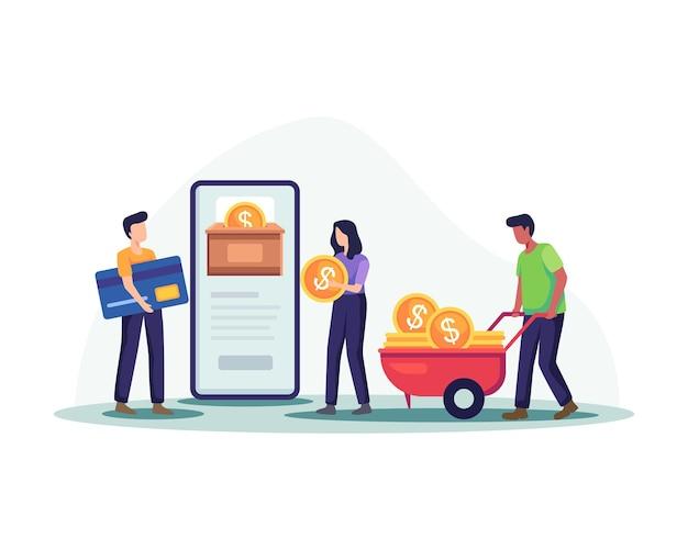 온라인 돈 기부 그림입니다. 남성과 여성 캐릭터는 동전을 모으고 기부를 위해 신용 카드로 지불합니다. 온라인 결제를 통한 기부, 모금 기술. 평면 스타일의 벡터