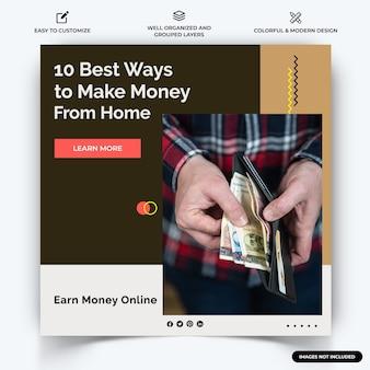 オンラインお金を稼ぐinstagramの投稿ウェブバナーテンプレートベクトルプレミアムベクトル