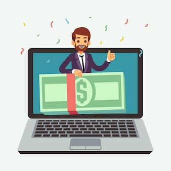 Online money prize. lottery reward, internet award or cashing gaming success. remote business shopping bonus. cartoon man cash on laptop screen vector illustration. lottery reward, prize and jackpot