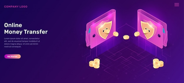 Online money transfer isometric wallets with coins