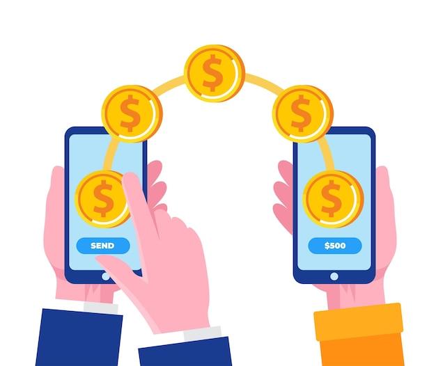 배너 및 방문 페이지에 대한 스마트폰 평면 벡터 일러스트와 함께 온라인 송금