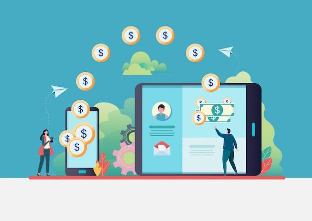 Online money transfer.