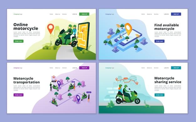 オンラインバイク輸送のランディングページ。 webサイトとモバイルwebサイトのオートバイタクシーのコンセプト