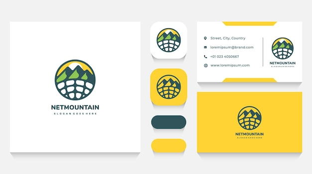 Online mountains travel and trip logo template and business card