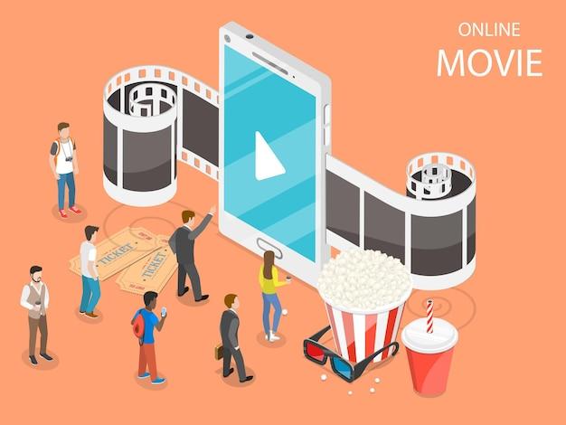 Online movie flat isometric concept.