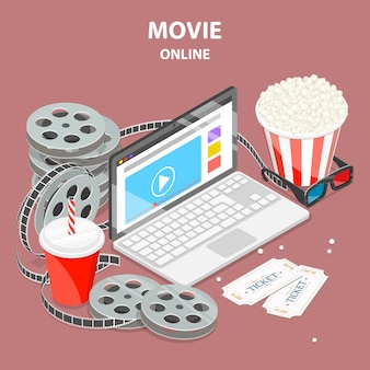 Online movie flat isometric illustration.
