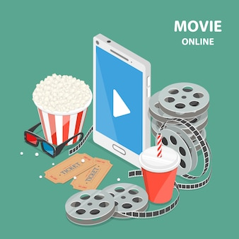 Online movie flat isometric low poly vector concept.