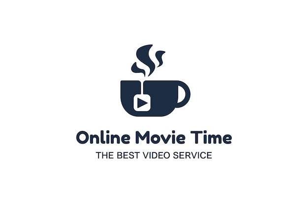 온라인 영화 플랫 로고 템플릿입니다. 영상제작, 브이로그, 영화제작 서비스 로고타입 아이디어