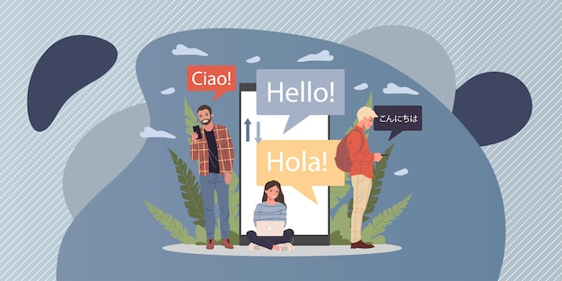 Online multi language translator   illustration