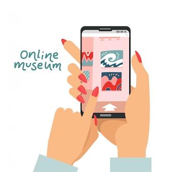 여성의 손으로 스마트 폰을 들고 장치, 앱 갤러리 가이드, 디지털 전시회, 집에 머물기위한 멀티미디어 서비스의 앱에서 대화 형 미술관 박람회를 방문하는 온라인 박물관 개념