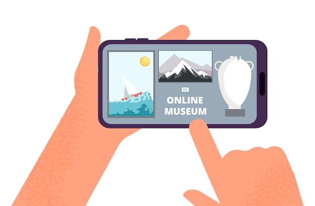 Интернет-музей. руки держат смартфон с экскурсией по выставке картин в интернете