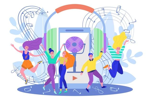 オンライン音楽の概念、ベクトルイラスト、若いフラットな男性女性キャラクターがスマートフォンデバイスでオーディオを聞く、幸せな小さな人々が踊る