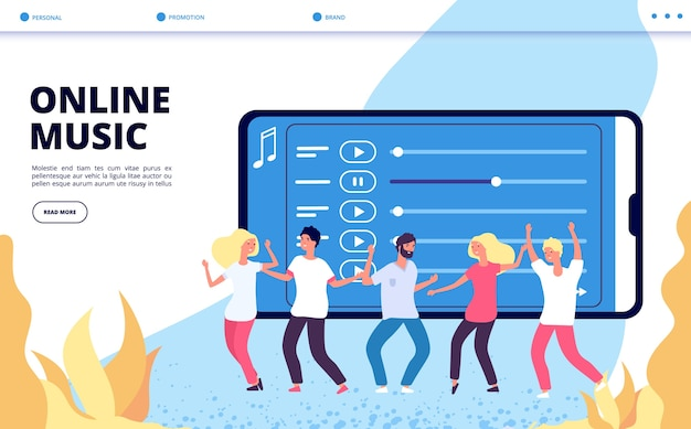 Online music landing page. vector mobile entertainment illustration. happy dancing people and playlist web page