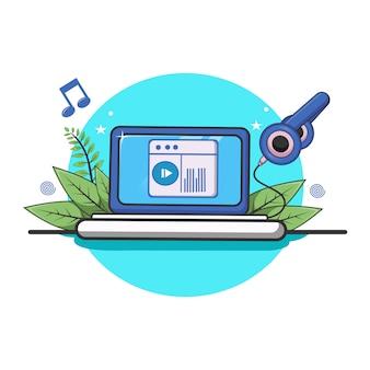 ノートパソコンと曲と音楽アイコンイラストのメモのオンライン音楽プレーヤー。