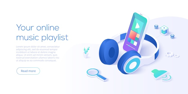 Online music playlist concept in isometric landing page