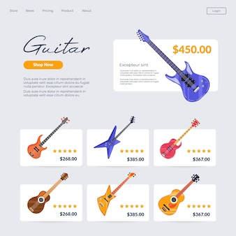 Online music shop buying guitar in internet page
