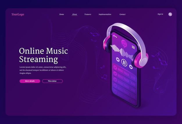 Online music streaming service isometric landing page