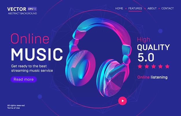 고품질 등급의 온라인 음악 스트리밍 서비스 랜딩 페이지 템플릿입니다. 네온 라인 아트 스타일의 무선 헤드폰 실루엣의 추상 설명 된 그림