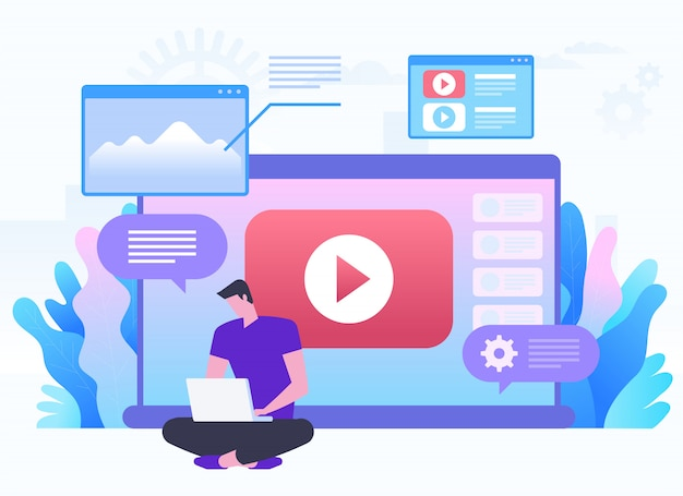 Online network, blog, web media, social networking, media content and online gallery concept. a man sitting on a big laptop with play button. flat illustration