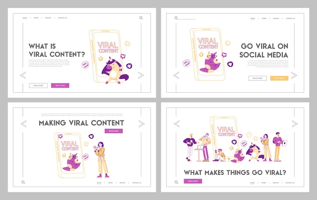 Online network likes landing page template set