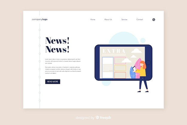Online news anding page template