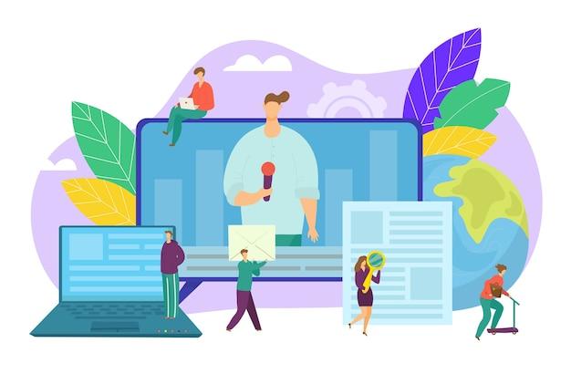 Концепция новостей в интернете, информационный бюллетень в интернете и информация в интернете, иллюстрации для сми. новости бизнеса и рынка. финансовый отчет. сетевой и газетный сайт, пресса онлайн.