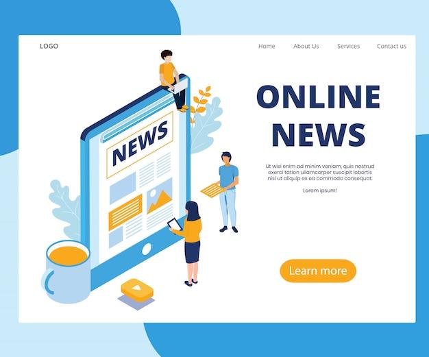 Online news concept isometric vector illustration.