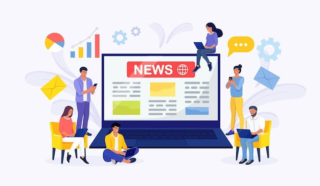 Online news content, electronic newspaper. tiny people reading breaking news on big laptop screen. information about activities, events, company announcements and information. social media, news tips Premium Vector