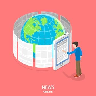 オンラインニュースフラット等尺性概念。