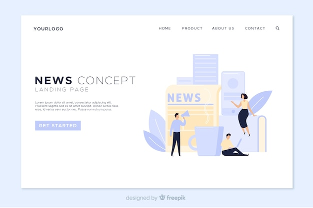 Online news landing page template