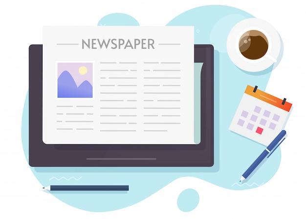 Online news on tablet