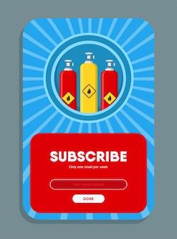 온라인 뉴스 레터 디자인. 구독 버튼 및 이메일 주소 상자 가스 풍선 벡터 일러스트 레이 션. 구독 편지 템플릿에 대한 가스 생산 및 유통 개념