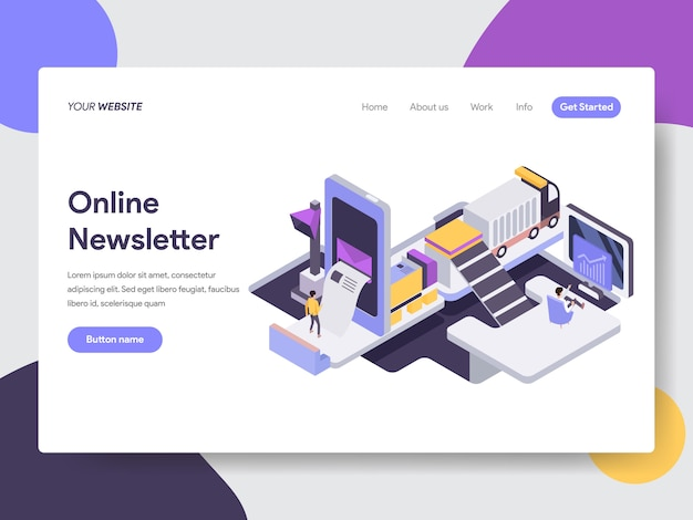 Online newsletter mobile isometric illustration