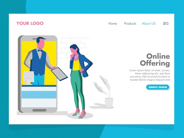 Иллюстрация онлайн-предложения для целевой страницы