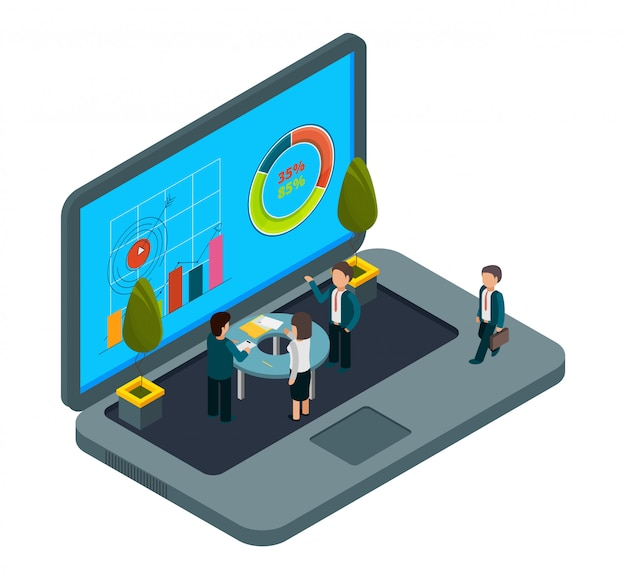Интернет офис. изометрические ноутбук и бизнесмены. концепция деловой встречи