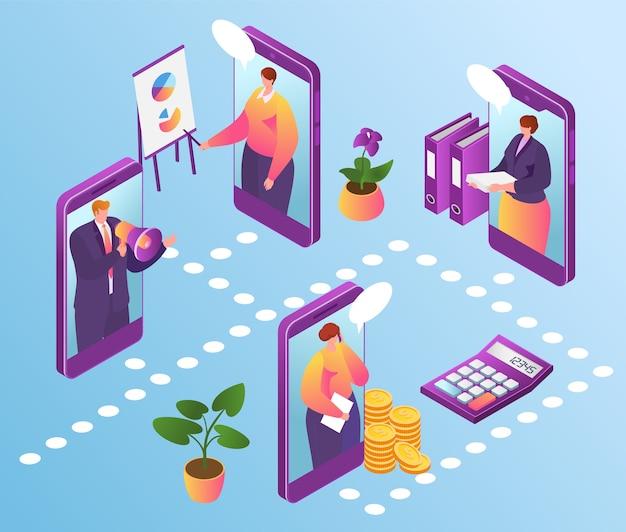 オンラインオフィステクノロジー、インターネットでのビジネス管理。スマートフォンで金融アプリを使用し、オンラインでビジネス専門家チームと接続するビジネスマン。仕事でのコミュニケーション。