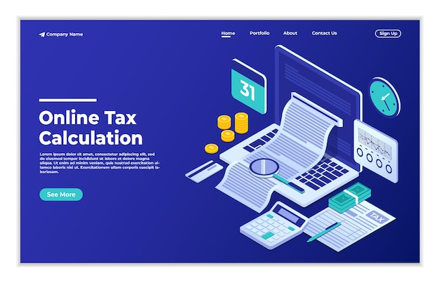 Online official documents for tax calculation isometric concept