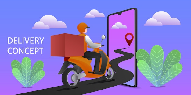 Online order and delivery concept illustration
