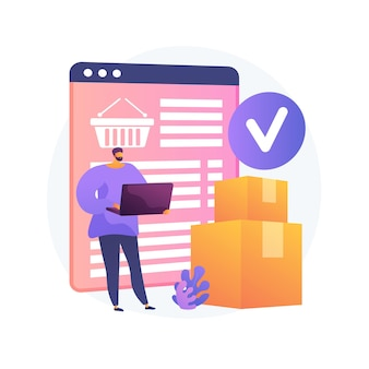 온라인 주문 배송 서비스, 배송. 인터넷 쇼핑 바구니, 골판지 상자, 노트북 구매자. 모니터 화면 및 소포에 배송 메모. 벡터 격리 된 개념은 유 그림입니다.