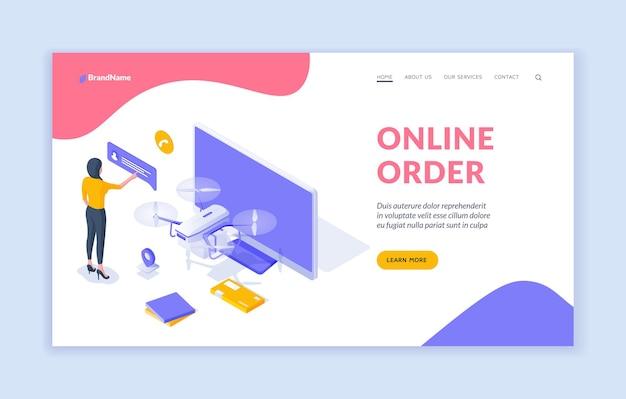 オンライン注文ランディングページテンプレート。コンピューターのモニターとドローンの近くで売り手と通信する女性