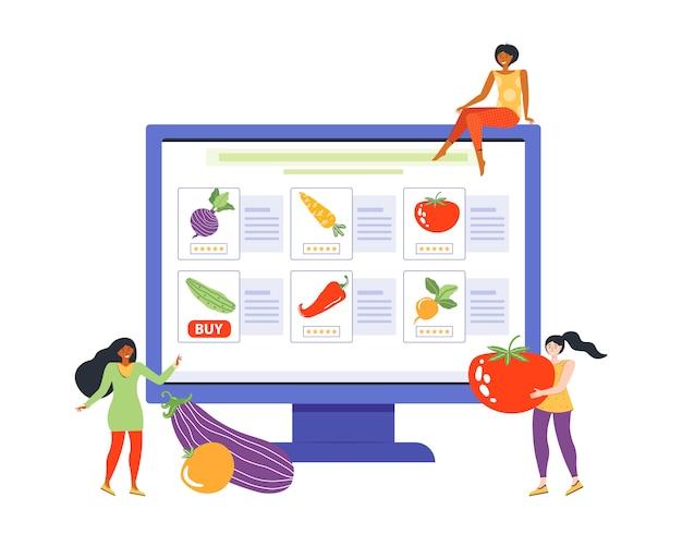 Онлайн заказ свежих овощей на сайте продуктового магазина. женские персонажи делают покупки через интернет. продажа в интернет-супермаркете. женщины покупают продукты для диет и здорового питания. плоский вектор