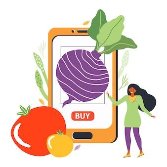 식료품 점 웹 사이트에서 신선한 채소의 온라인 주문. 젊은 여자는 스마트 폰에서 모바일 앱을 사용하여 식료품을 구입합니다. 식이 건강 영양의 개념입니다. 평면 그림