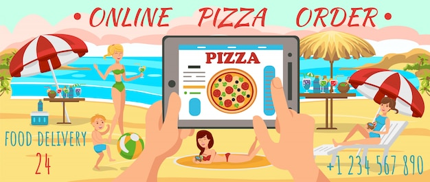 Online order pizza on beach