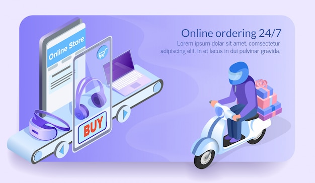 Online ordering 24/7 courier of electronic store.