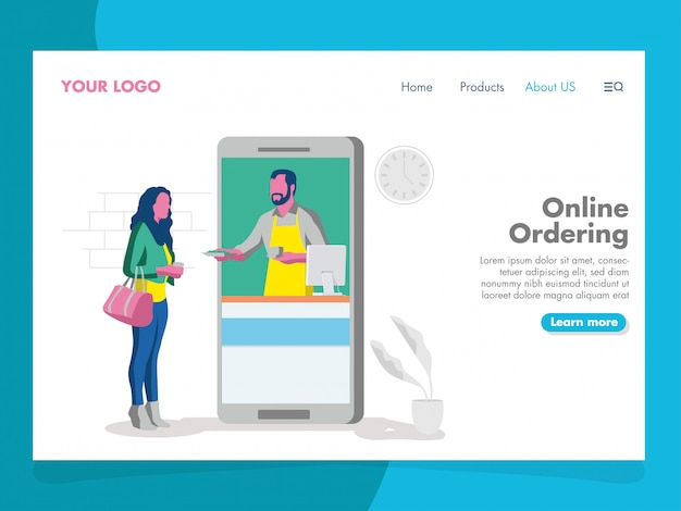 Online ordering illustration for landing page