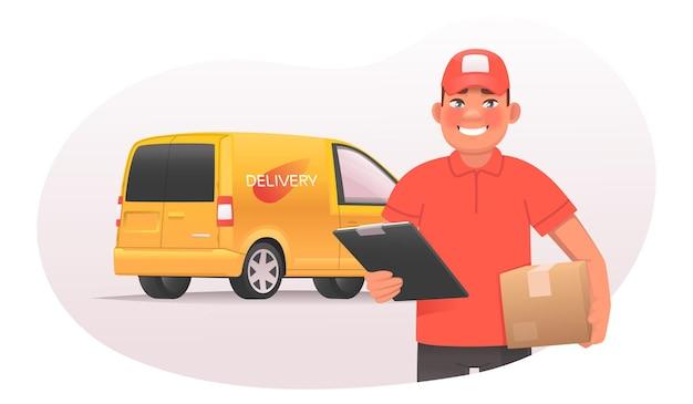 市場でのオンライン注文と商品の配送。宅配便は、バンの背景に小包を持っています。漫画スタイルのモバイルアプリのベクトル図