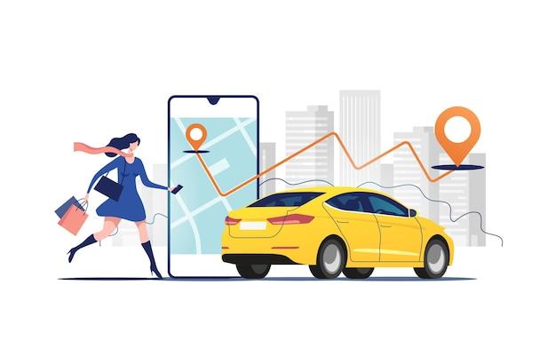 Онлайн-заказ такси, аренда и шеринг автомобиля с помощью мобильного приложения сервиса.